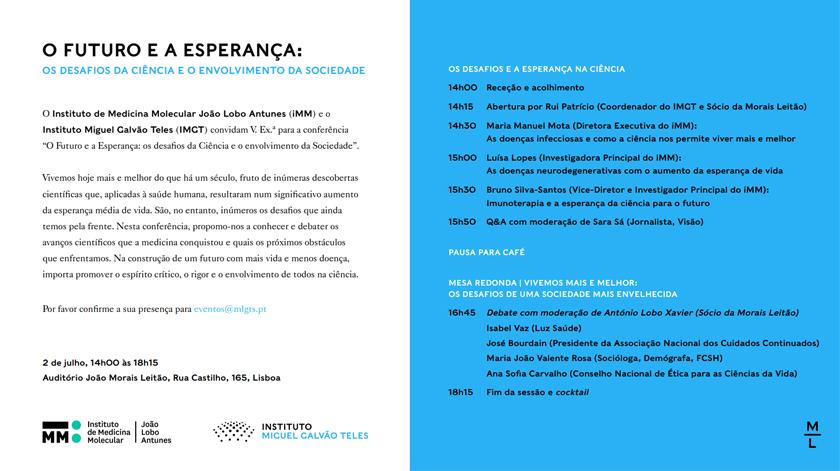 """Conferência """"O futuro e a Esperança – os desafios da ciência e o envolvimento da sociedade"""""""
