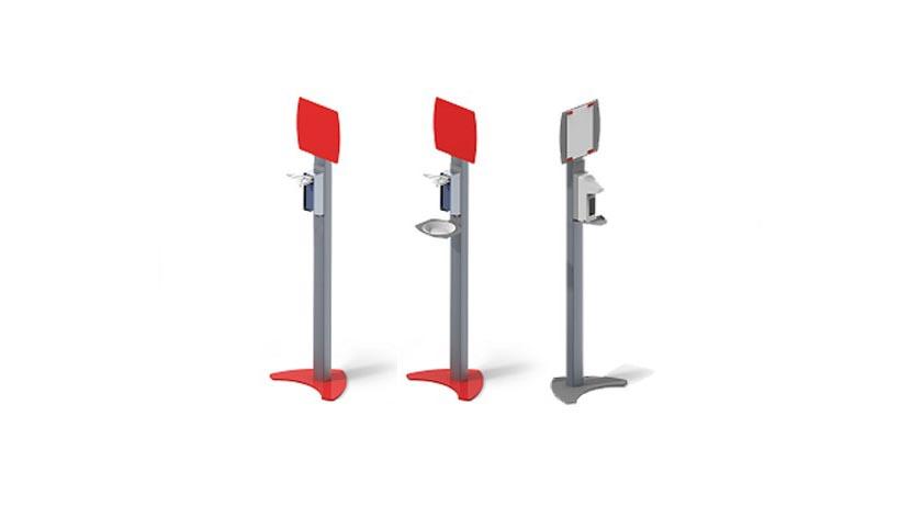 Estação/coluna de desinfeção móvel, de alumínio, com dispensador de desinfetante e painel metálico para ímanes