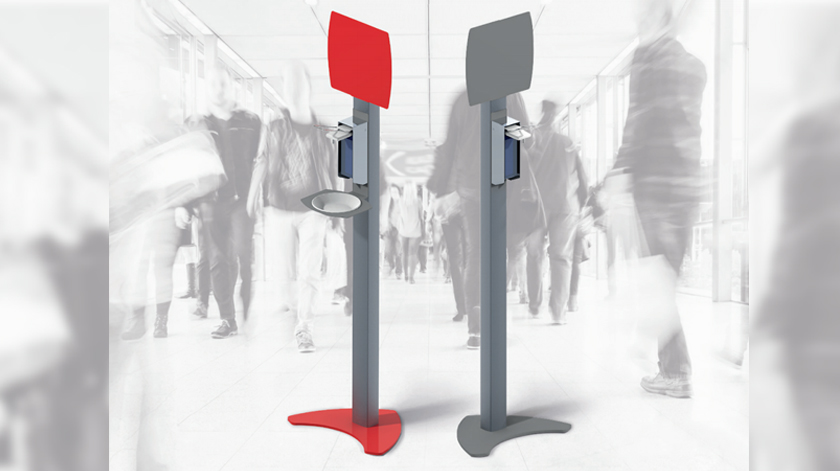 Estação/coluna de desinfeção móvel, de alumínio, com dispensador de desinfetante e painel metálico