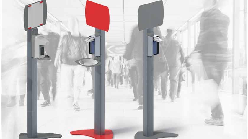 Bernstein: Estação/coluna de desinfeção móvel, em alumínio, com dispensador de desinfetante e painel metálico