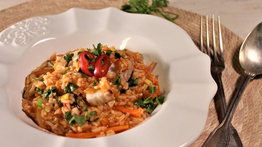 Sugestão de almoço/jantar: arroz de pescada
